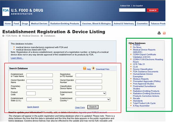 Search Medical Device Databases